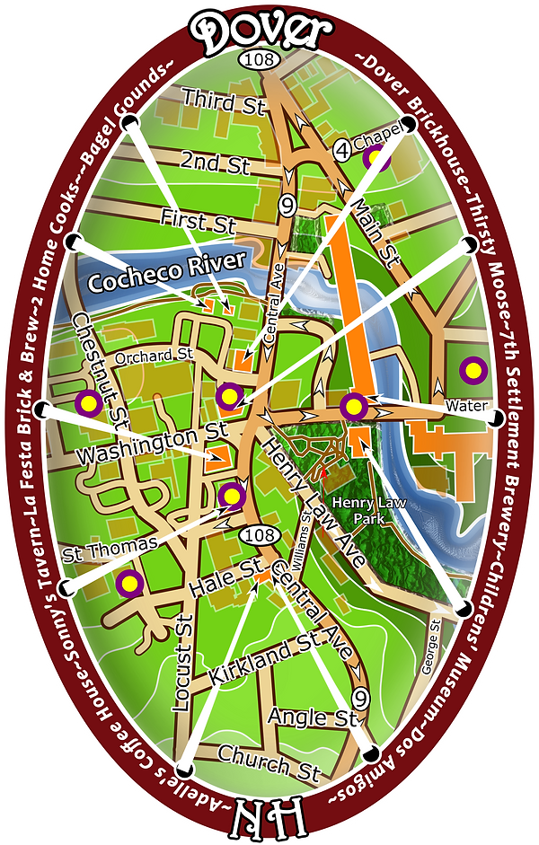 This is the map of downtown Dover.  There are many businesses there for everyone to enjoy.