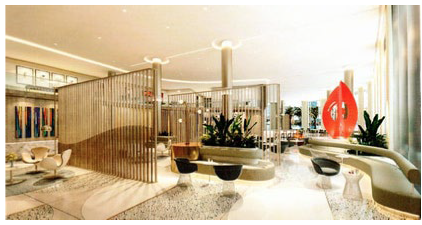 This is a conceptual rendering of the hotel lounge space, which features a metal sculpture by Jorge Blanco. (DLR Group)