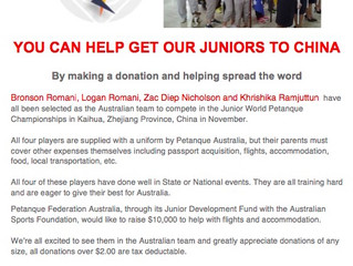 Help our Juniors get to China!