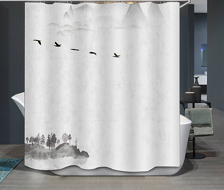 Duschvorhang Vögel