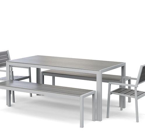 Gartenmöbel Tisch 180 cm + 2 Stühle + 2 Bänke grau