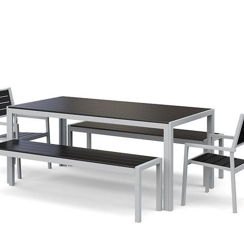 Gartenmöbel Tisch 180 cm + 2 Stühle + 2 Bänke anthrazit