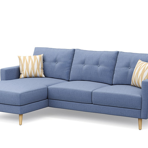 Ecksofa MANDY links blau