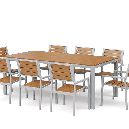 Gartenmöbel Tisch 200 cm + 8 Stühle braun