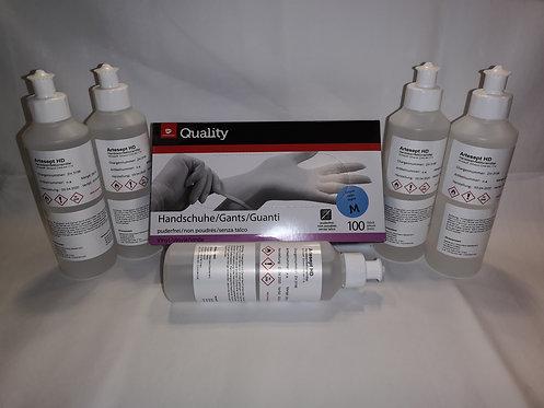 6er SET Desinfektionsmittel 5x250ml 1xHandschuhe BAG Approve