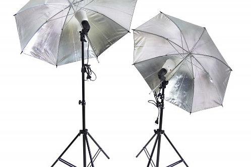 Hochwertige Alu Studioleuchtung mit Schirm und Stativ