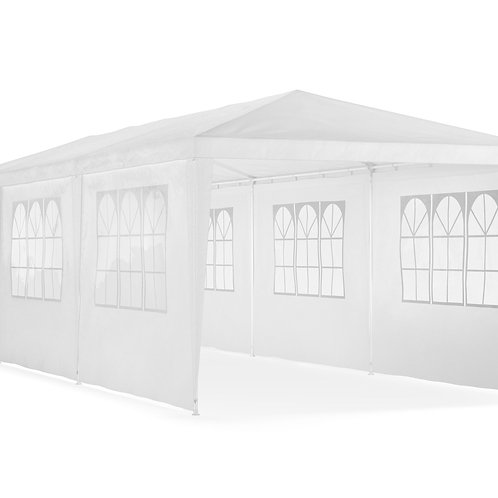 Gartenpavillon 3 x 9 m weiss inkl. 8 Seitenwände