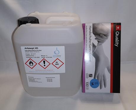 2er SET Desinfektionsmittel 1x5000ml 1xHandschuhe BAG Approve
