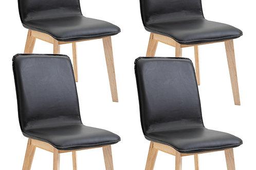 Esszimmerstuhl NANDO schwarz im 4er Set PVC