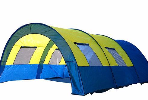 Campingzelt Tunnelzelt blau/gelb