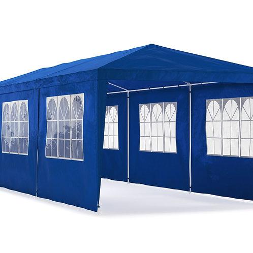 Gartenpavillon 3 x 9 m blau inkl. 8 Seitenwände