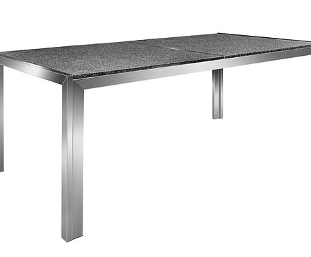 Granittisch Edelstahl 180 x 95 x 75 cm