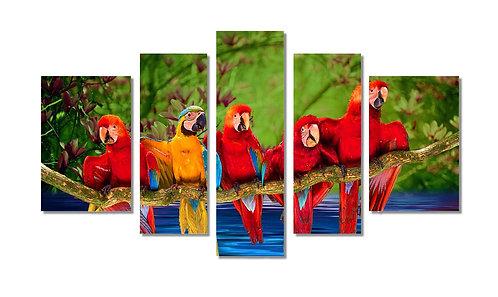 Wandbild Paradiesvögel 5-teilig
