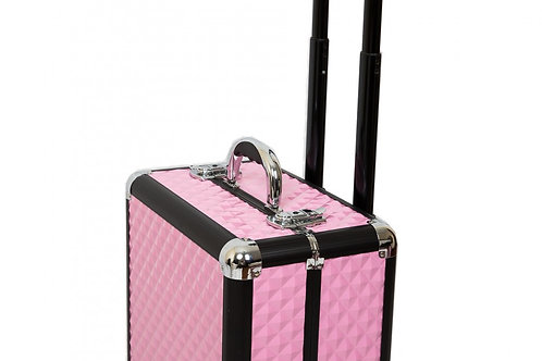 Kosmetikkoffer Trolley Aluminium pink