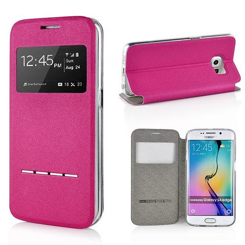 Lederetui für Samsung Galaxy S6 Edge rosa