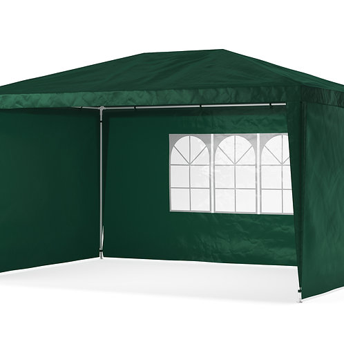 Gartenpavillon Partyzelt 3 x 4 m grün inkl. 4 Seitenwände