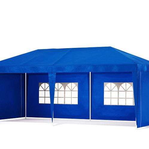 Gartenpavillon Partyzelt 6 x 3 x 2.7 m blau