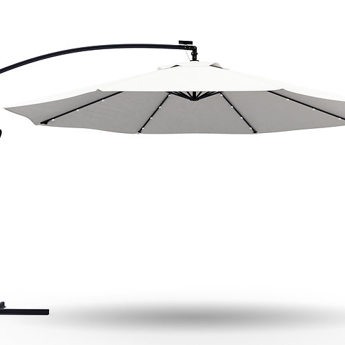 Ampelschirm mit LED 300 cm weiss