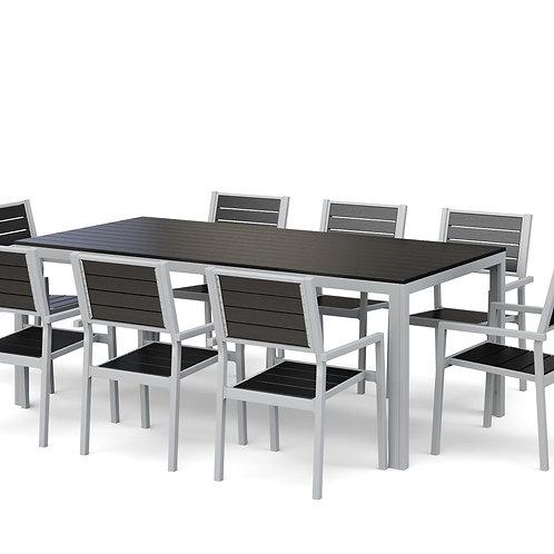 Gartenmöbel Tisch 200 cm + 8 Stühle anthrazit