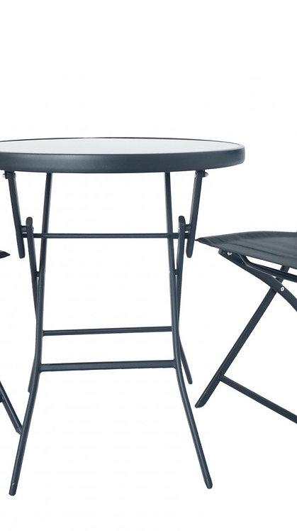 Gartenset mit Tisch + zwei Stühlen Textilen