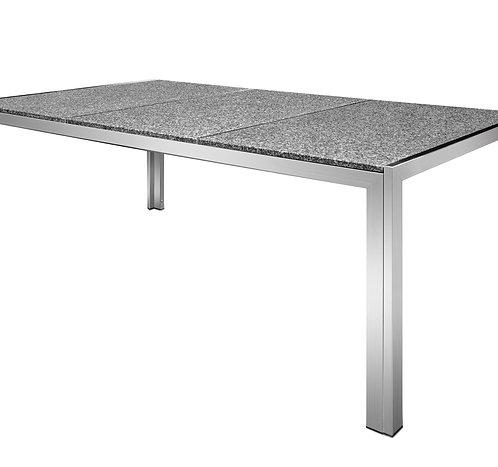Granittisch Edelstahl 200 x 95 x 75 cm