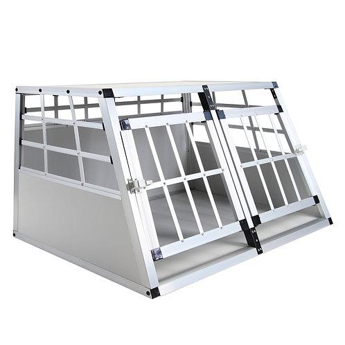 Alu Hundebox Doppelbox klein grau