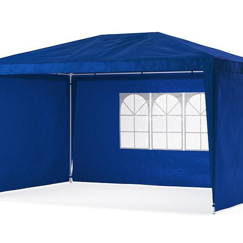 Gartenpavillon Partyzelt 3 x 4 m blau inkl. 4 Seitenwände