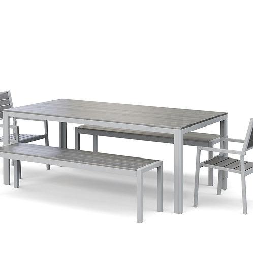 Gartenmöbel Tisch 200 cm + 2 Stühle + 2 Bänke grau