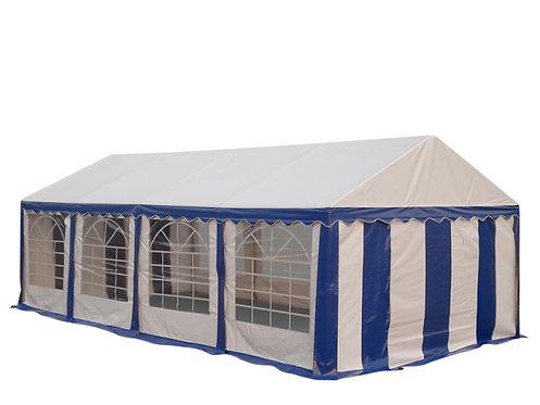 Profi PVC Partyzelt 4 x 8 m blau/weiss