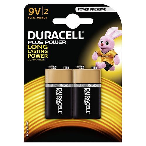 DURACELL Plus Power Batterie 9V 6LF22 / MN1604 2 Stk.
