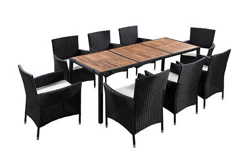 Rattangarnitur BALI: 1 Tisch + 8 Stühle
