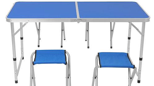 Camping Koffertisch mit 4 Stühlen blau
