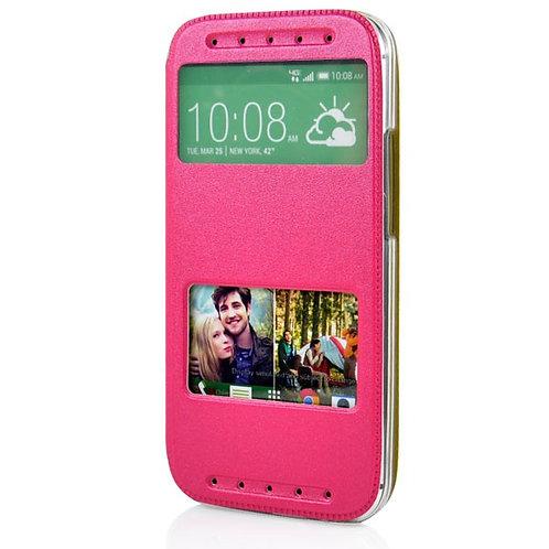 Ledertasche HTC One M8 pink/gelb