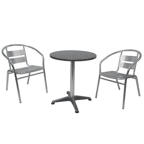 Bistrotisch mit 2 Stühlen Aluminium silber
