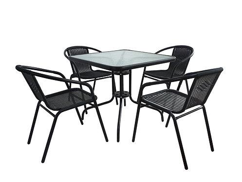 Gartenmöbel Tisch und Stühle schwarz