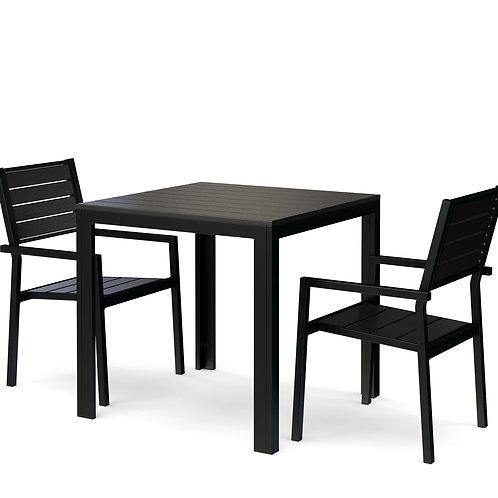 Gartenmöbel Set Tisch 80 cm + 2 Stühle schwarz