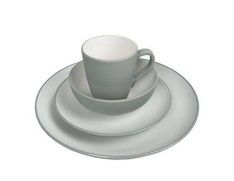 Geschirr-Set Melamin 16-teilig grau