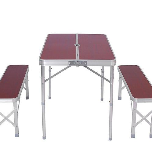 Camping Koffertisch mit 2 Sitzbänken braun
