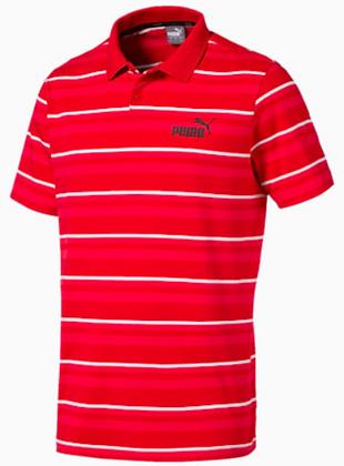 Puma Men's Ess Stripped J Polo Red 100% chính hãng