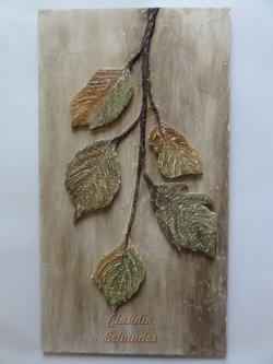 Quadro com folhas secas