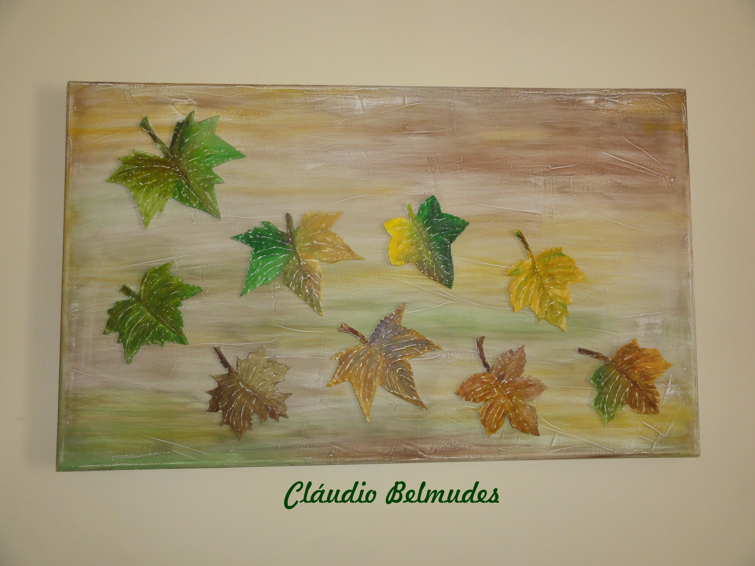 Painel de folhas secas