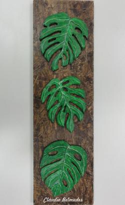 Quadro com folhas costela de adão