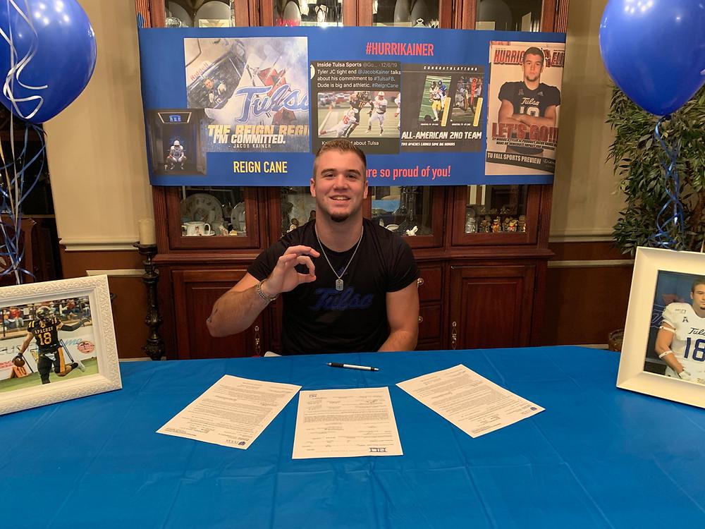 Jacob Kainer earns football scholarship to University of Tulsa