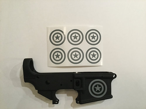 Captain America Shield AR 15 Receiver Sticker 6 Pack