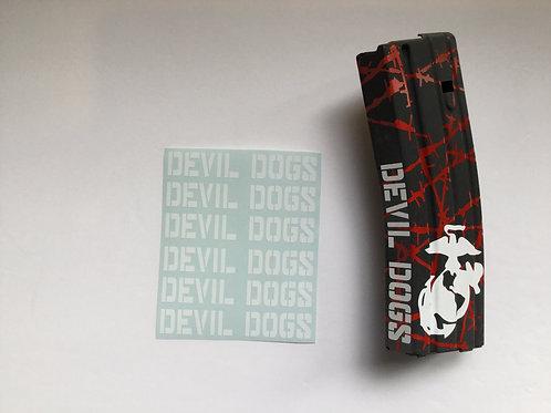 Devil Dogs AR Mag Side Sticker 6 Pack