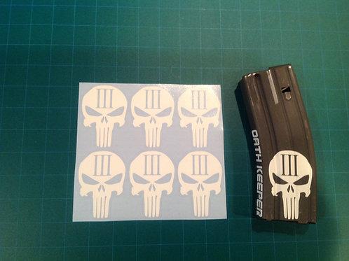 3% Punisher Skull Sticker 6 Pack