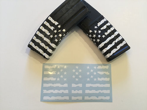 Tattered US Flag Magazine Wrap Sticker