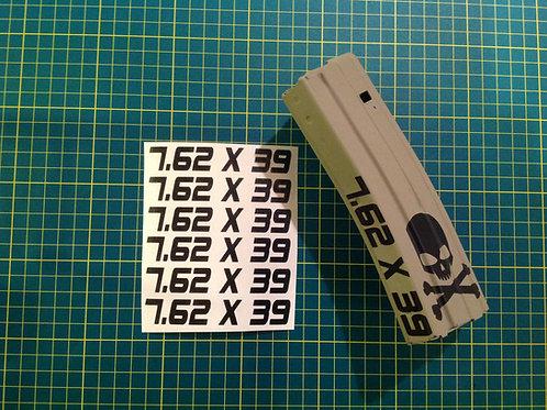 7.62 x 39 AR Mag Side Sticker 6 Pack