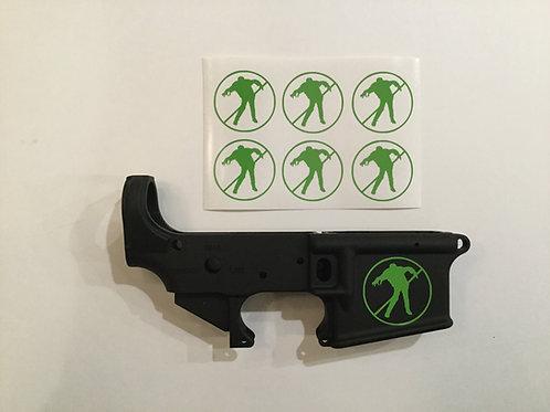 No Zombie Zone AR 15 Receiver Sticker 6 Pack