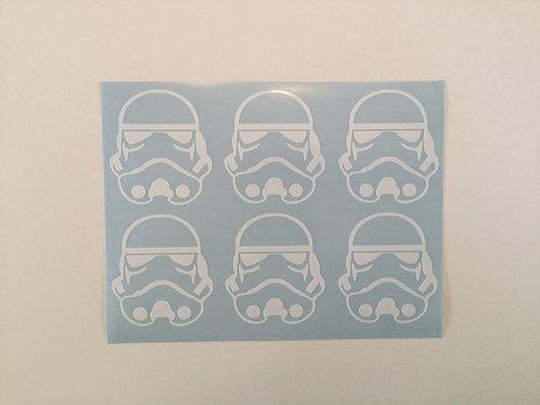 Storm Trooper Helmet Sticker 6 Pack